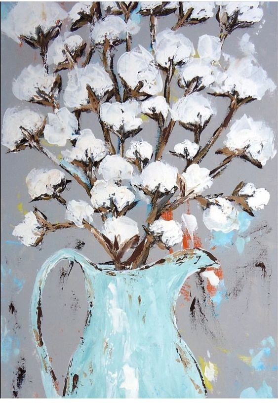 Cotton Blossom Canvas Painting